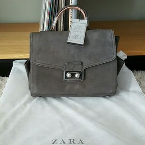 Zara Grey Suede Leather Lady City Trapeze Bag