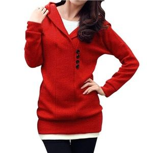 Allegra K Sweaters - Red Shawl Collar Hooded Sweater