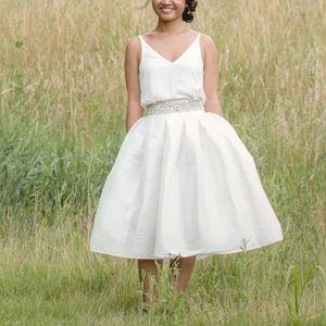 White satin midi skirt, size M