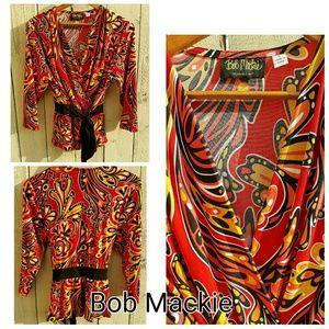 Bob Mackie Tops - Bob Mackie Red Multicolor Print Wrap Top Large