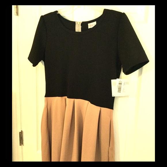 LuLaRoe Dresses & Skirts - Brand New LuLaRoe Black and Tan L Amelia Dress