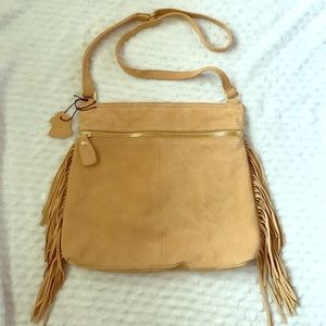 Margot Genuine Leather Handbags - Margot Sueded Leather boho FRINGE Cross-body bag