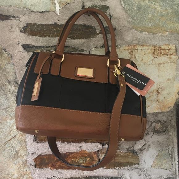 Tignanello leather black cognac handbag NWT