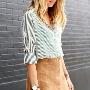 Foxcroft Tops - Classic Black & White Pinstripe Button Down Shirt