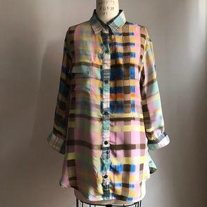 SUNO Tops - Suno Silk Plaid Shirt Tunic Top
