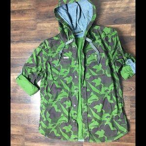 TRUKFIT Lil Wayne CAMO SHIRT Button up with Hood