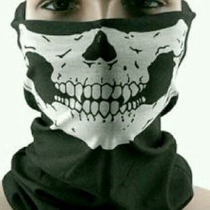 Face mask ski skull skate walk jog red blue or blk