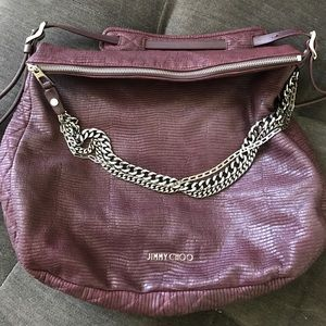 Jimmy Choo Burgundy Boho Large Shoulder Bag