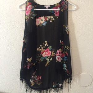 Floral Sheer Fringed Cover Up