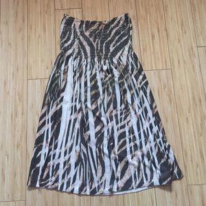 Brown/taupe animal print strapless dress
