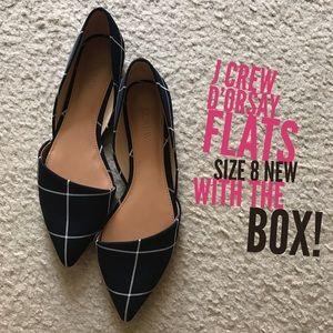J. Crew Factory Shoes - NWT! J Crew Zoe Windowpane D'ORSAY flats Size 8