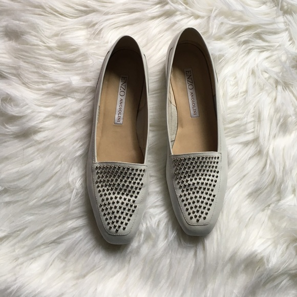bcfb6861313 Enzo Angiolini Shoes - Enzo Angiolini White Leather Studded Loafers