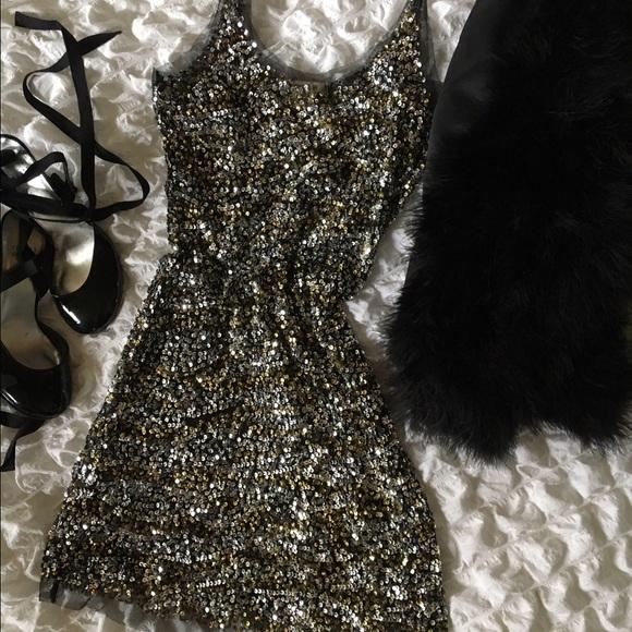 Arden B Dresses - Gold silver sequin tulle sheer slip dress
