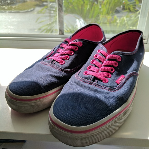 cozy fresh best selection of 2019 good service Navy Blue w/ Hot Pink Lace up VANS