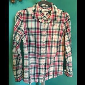 J crew plaid strawberry mint button up