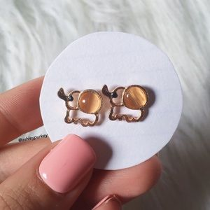B-Long Boutique Jewelry - ❤️SALE❤️ gold elephant & beige stone stud earrings