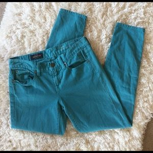 J Crew Toothpick Teal Skinny Ankle Jeans