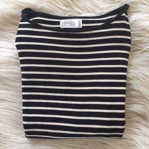 Black & Cream Striped 3/4-Length Sleeve Zara Tee