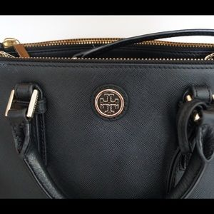Tory Burch Robinson Double Zip Black Bag
