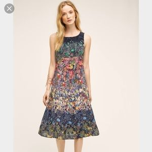 Anthropologie Maeve Silk Larkspur Midi Dress