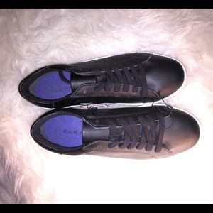 NWT ! Zara Black Lace Up Leather Sneakers / Shoes
