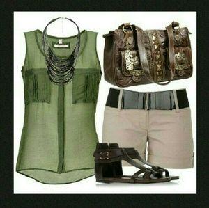 BP Tops - Safari Sleeveless Utilitarian Shirt NWT