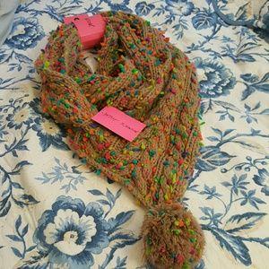 Betsey Johnson neon infinity pom scarf