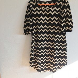 J. Crew Dresses & Skirts - Black & Ivory Chevron Shift Dress