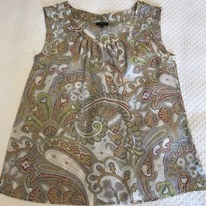 Talbots Tops - Talbots paisley tank with fluted pleat detail.