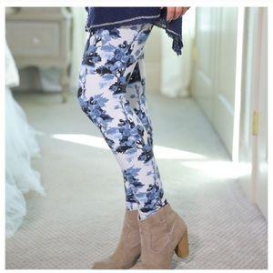 Pants - Super Soft Blue Floral Leggings