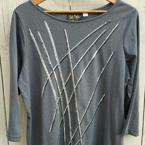 Bob Mackie Tops - Bob Mackie's Sequin Embellished Gray 3/4 Shirt L
