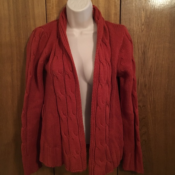 Chesley - Burnt Orange Cable Knit Cardigan Sweater from ...
