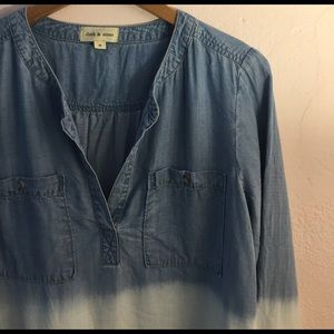 Anthropologie Cloth & Stone tie dye chambray top