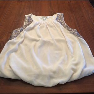 Forever 21 cream bubble top w/ silver sequins sz s