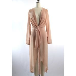 Dresses & Skirts - Nude Chiffon Crepe Bodysuit Dress