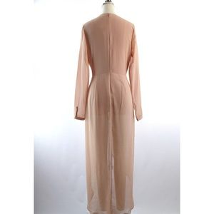 Dresses - Nude Chiffon Crepe Bodysuit Dress
