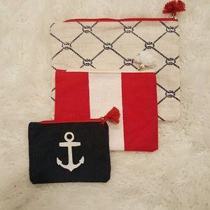 Mud Pie Handbags - Nautical  canvas cosmetic bags