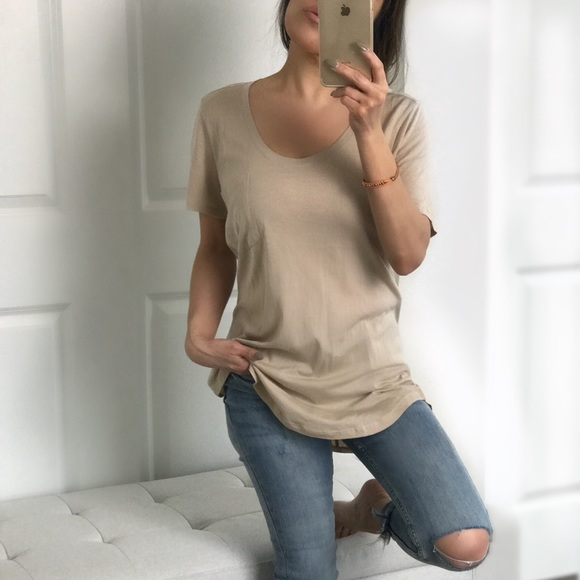 Boutique Tops | Last M Neutral Sand Curved Hem Tee | Poshmark