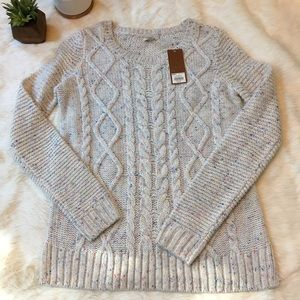 Sonoma Sweaters - NWT cozy cable knit sweater with pink/blue specks