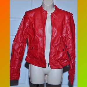 Collection B Jackets & Blazers - Red Hot Women's  Faux Leather Jacket