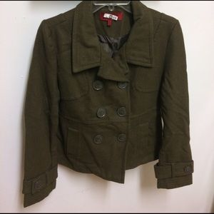 CoffeeShop Jackets & Blazers - Olive Green Wool Blend Peacoat - Sz M