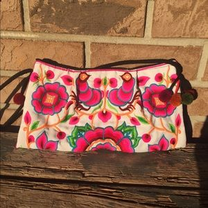 Antik Batik Handbags - Pink Embroidered Purse