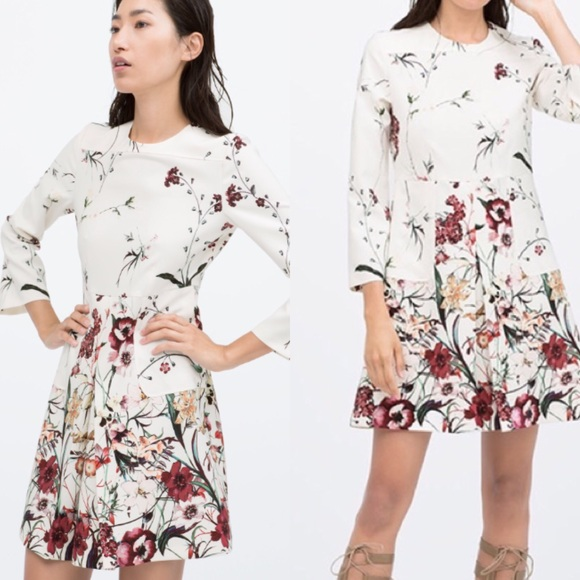 90c7f970 Zara floral front pleated dress. M_5897a40cbcd4a7a72f01f37c