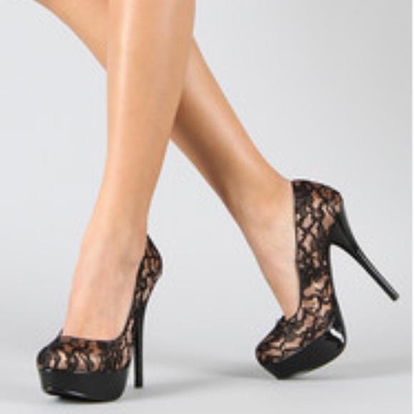 Speed Limit 98 Black Lace Stilettos Sz