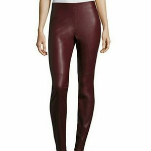 a.n.a Pants - A.N.A. Maroon Berry Faux Leather leggings