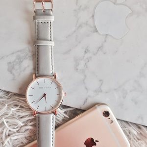 Large Face Light Grey Rose Gold Watch