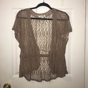 Forever 21 Tops - ✨tan sheer cardigan with drawstring waist✨