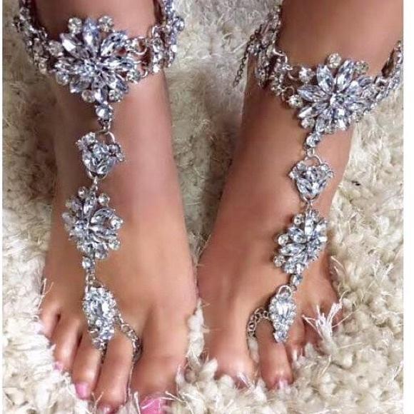 1d4cde650b57 Jeweled Crystal Beach Barefoot Sandals Weddings