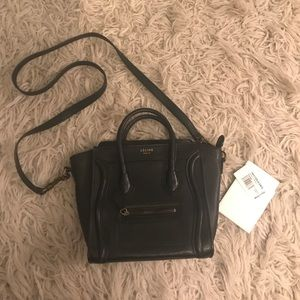 Handbags - Black Mini Luggage Bag Bronze Hardware