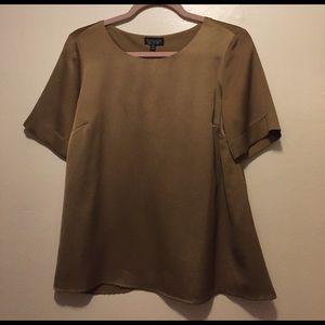 Topshop Olive Silk Blouse